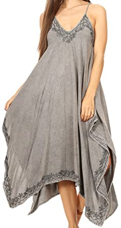 3b79aaefe55 Sakkas 16820 - Eleonora Stonewashed Embroidered Spaghetti Strap  Handkerchief Dress - Grey - OS
