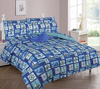 Amazon Com Wpm Sailor Blue Bedding Set Whale Shark Sea Creatures