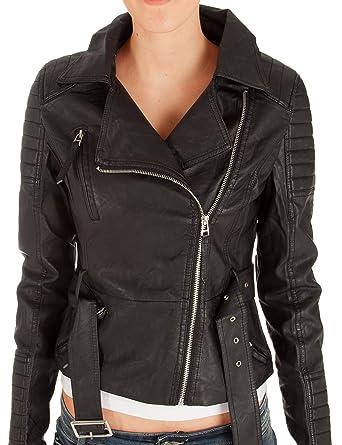 Fraternel Damen Bikerjacke Kunstlederjacke schwarz