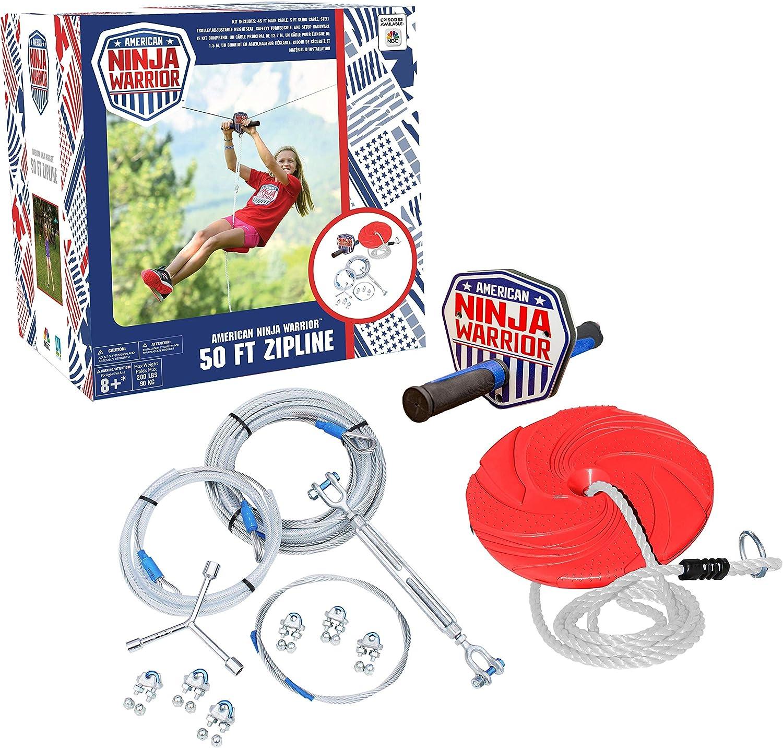 ANW American Ninja Warrior Zipline: (80ft & 50ft Versions) Backyard Zipline, Outdoor Adventure, American Ninja, Camping Zipline (80 ft)