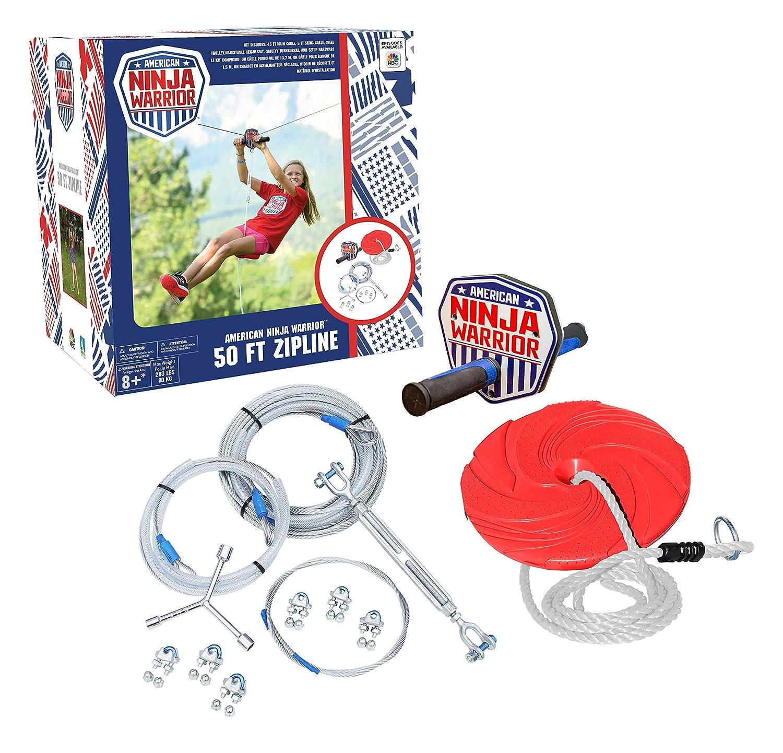 ANW American Ninja Warrior Zipline: (80ft & 50ft Versions) Backyard Zipline, Outdoor Adventure, American Ninja, Camping Zipline (50 ft)