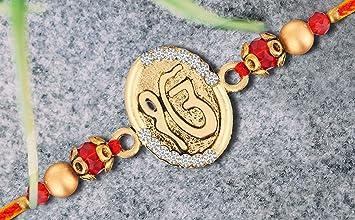 Traditional Festival Rakhi Multicolor Rakhee for Bhaiya Bhabhi Kids Sister Raksha Bandhan Rakshabandhan Designer Thread Bracelet Om Design Rakhi for Brother Faux Silver Stones