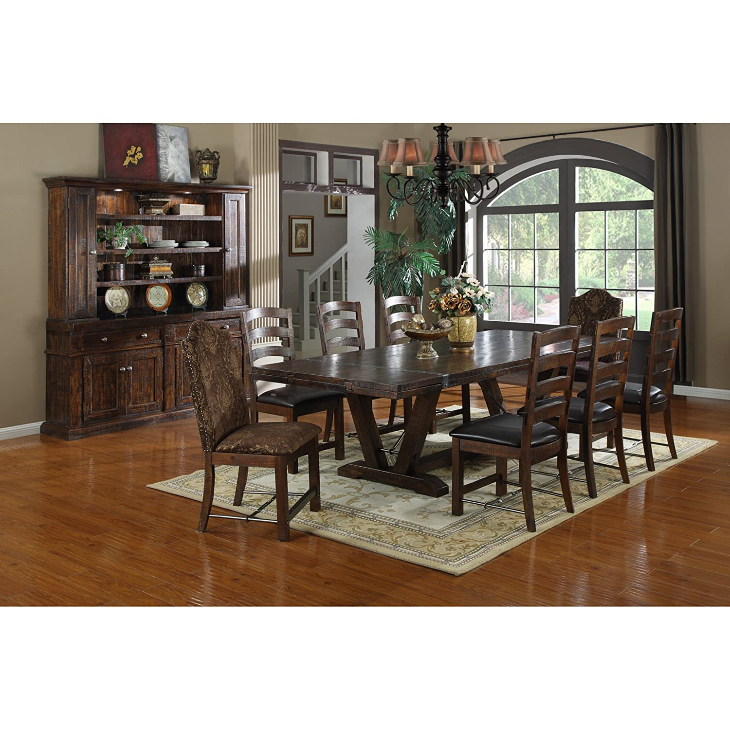 Emerald Home Castlegate Pine Brown Dining Table with Self Storing Extension Leaves, Plank Style Top, And Turnbuckle Bracing