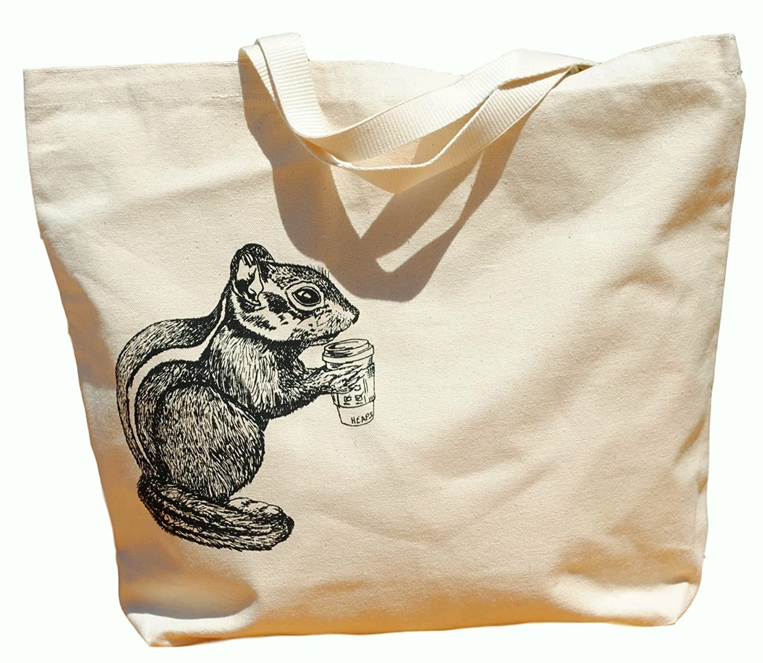 Canvas Tote Bag - Hand Printed Chipmunk Drinking Coffee - Market Travel Beach Shopper Grocery School
