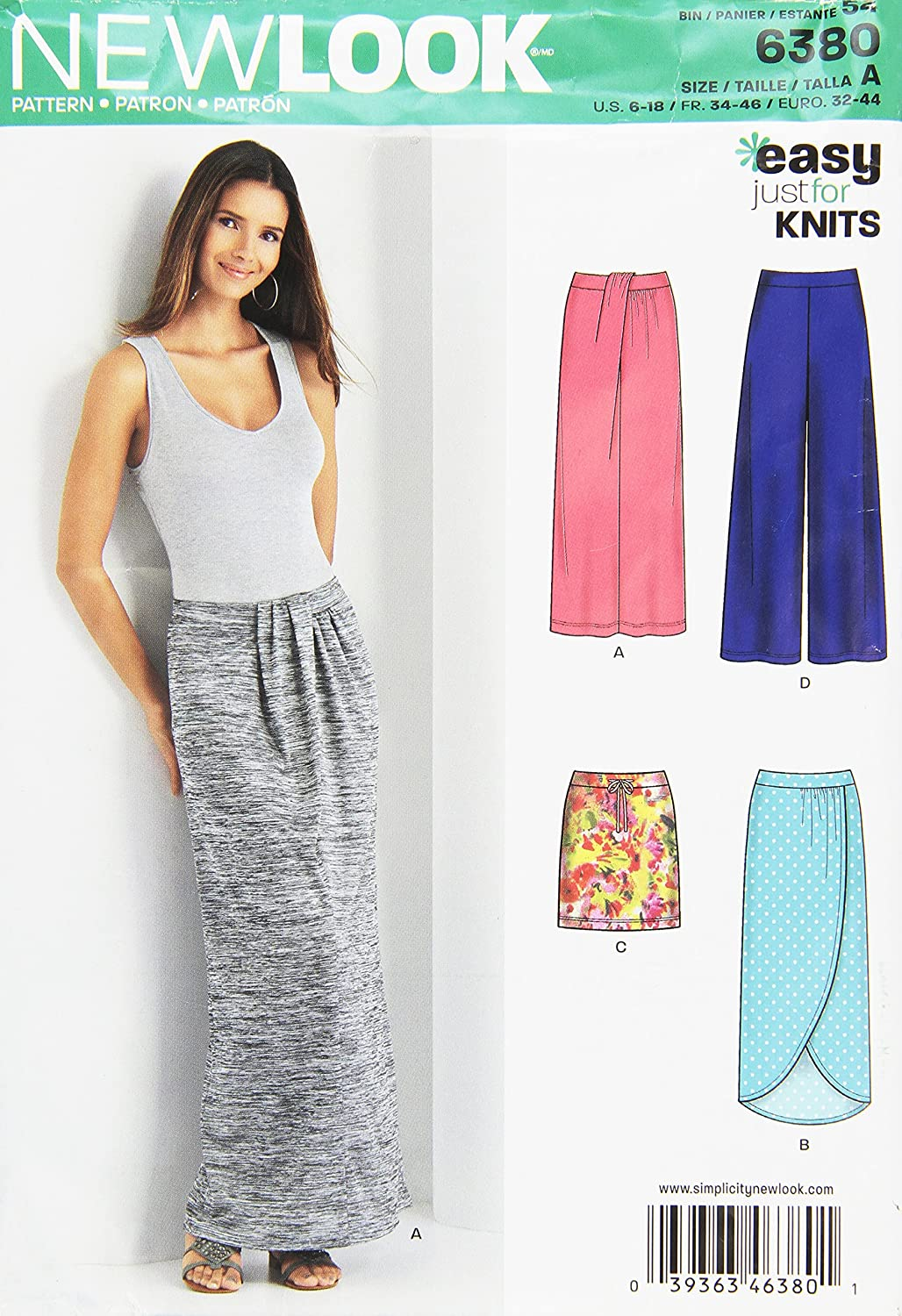 Misses Knit Skirts and Pants Size A New Look Sewing Pattern 6380