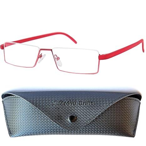 b70dac87a4 Flexibles Gafas de Lectura de Media Montura | Montura de Acero Inoxidable  Ligera (Rojo)