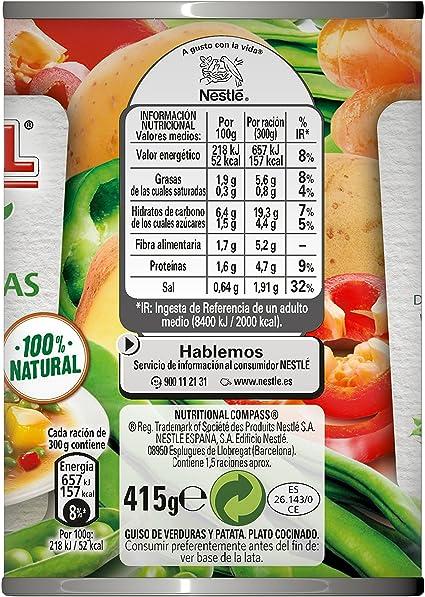Litoral - Guiso de Verduras y Patata - Pack de 5 x 415 g