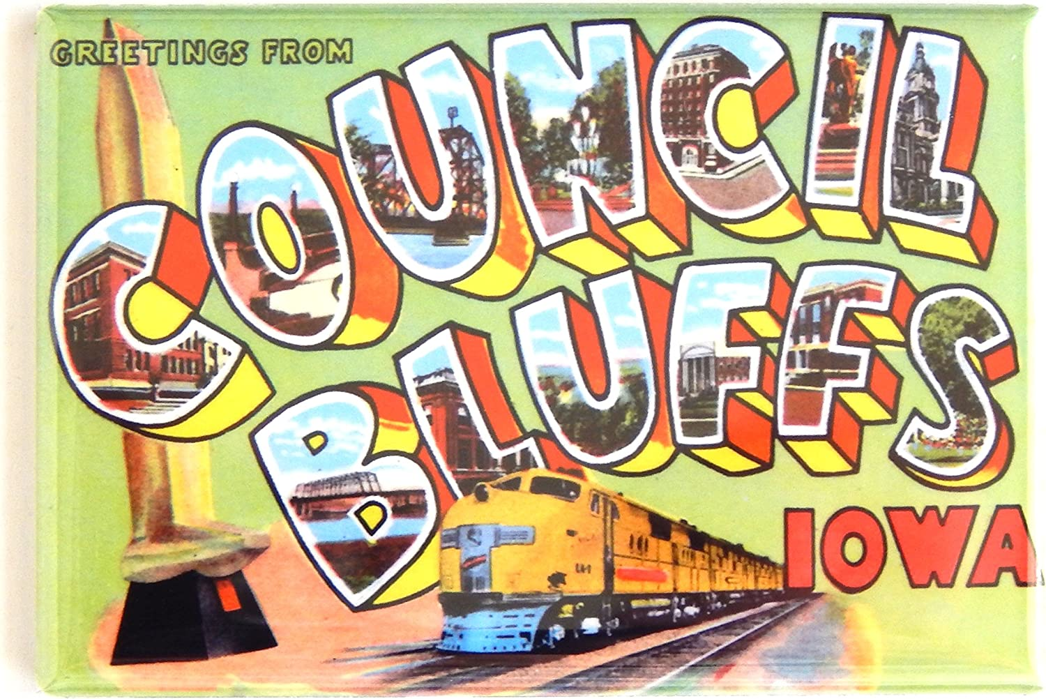 Greetings from Council Bluffs Iowa Fridge Magnet (2 x 3 inches)