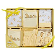 Big Oshi 6 Piece Layette Newborn Baby Gift Set - Great Baby Shower or Registry Gift Box to Welcome a New Arrival - All the Essentials - Pants, Shirt, Cap, Booties, Bodysuit, and Bib, Yellow