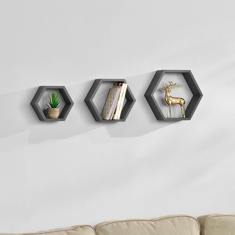 Stylisches Wandregal in Wabenform 3-teilig dunkelgrau matt im Retro-Design en.casa