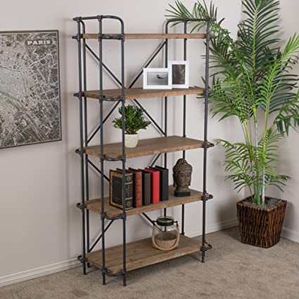 Great Deal Furniture Cobek 5 Shelf Industrial Design Solid Wood Bookcase