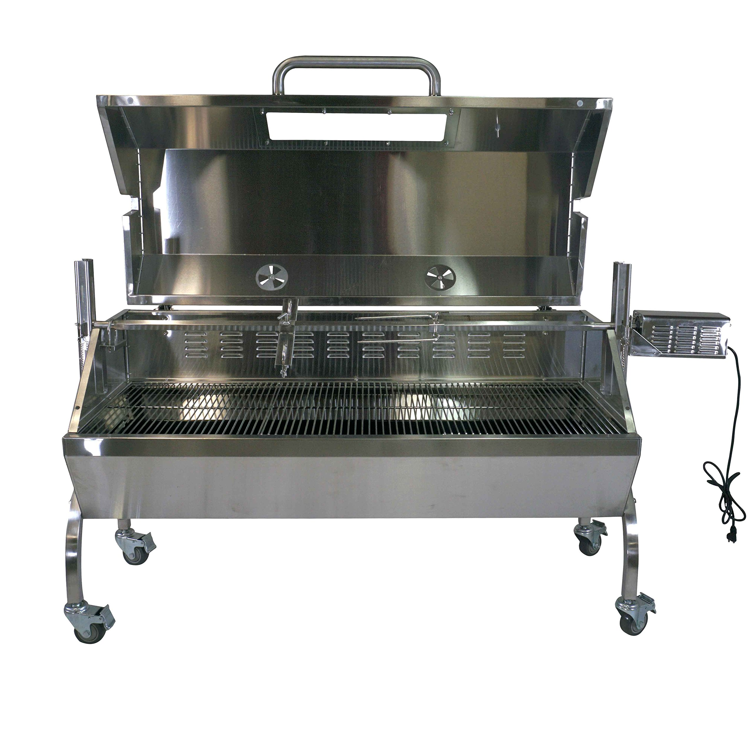 Titan Attachments BBQ Rotisserie Grill w/Roaster Spit and Glass Hood, 125 lbs.