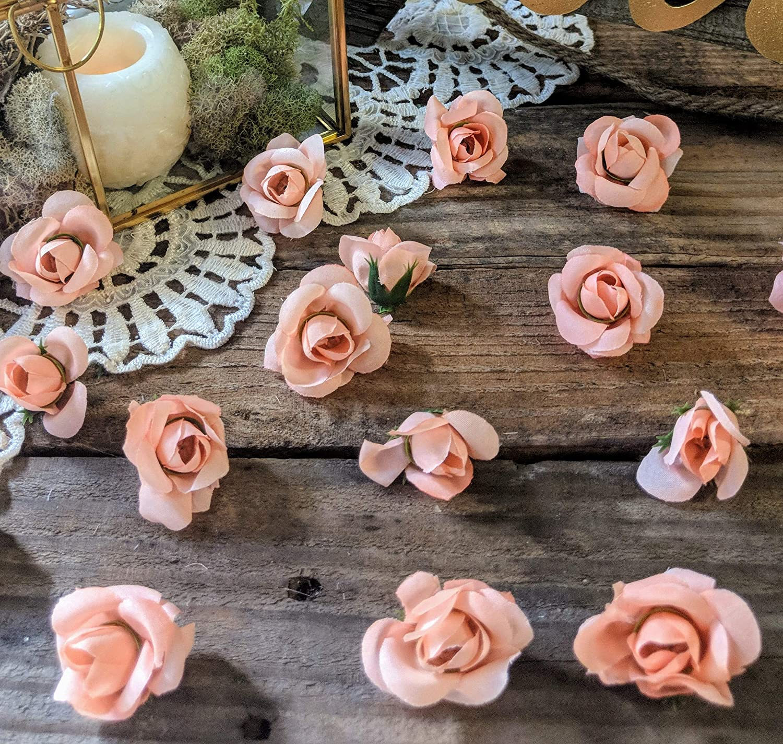 Wedding Table Decor Flower Confetti Baby Shower Table Decorations Mini Rose Buds Peach Dessert Table Decor