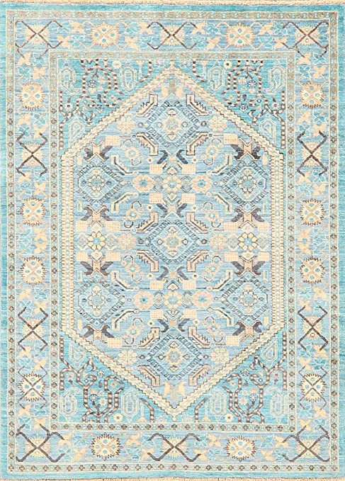 Amazon Com Vegetable Dye Muted Light Blue Ziegler Geometric Area Rug Wool Traditional Hand Knotted Oriental Carpet 4x5 Home Décor 3 11 X 5 5 Kitchen Dining