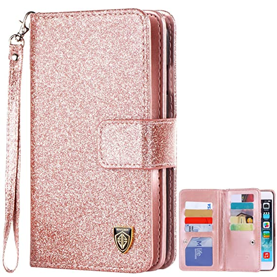 hot sale online 1e457 673f4 iPhone 6S Case,iPhone 6 Wallet Case,BENTOBEN Shiny Bling Folio Style Wallet  Case Credit Card Slots Cash Holder Wrist Strap Magnetic Premium Protective  ...
