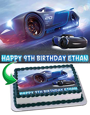 Jackson Storm Cars 3 Edible Cake Image Personalized Birthday Topper