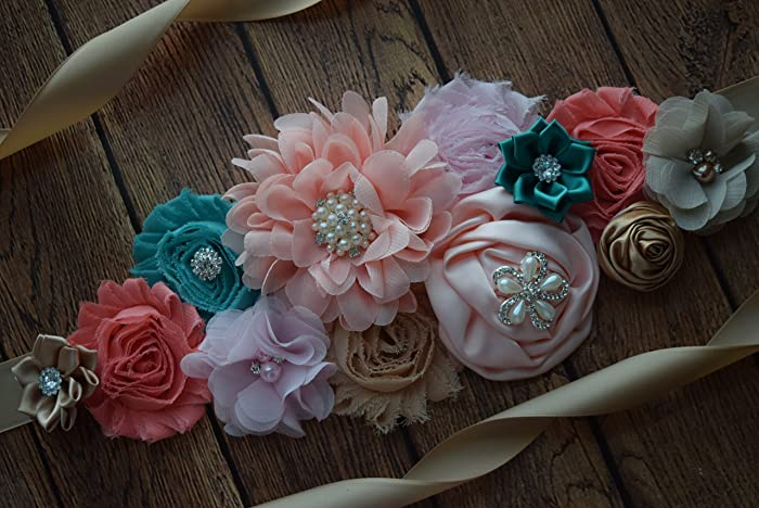 Amazon Com Sash Teal Coral Tan Pink Sash Flower Sash Baby Shower