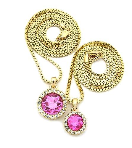 Amazon.com: Bebé Color rosa redondo de piedra colgante de 24 ...