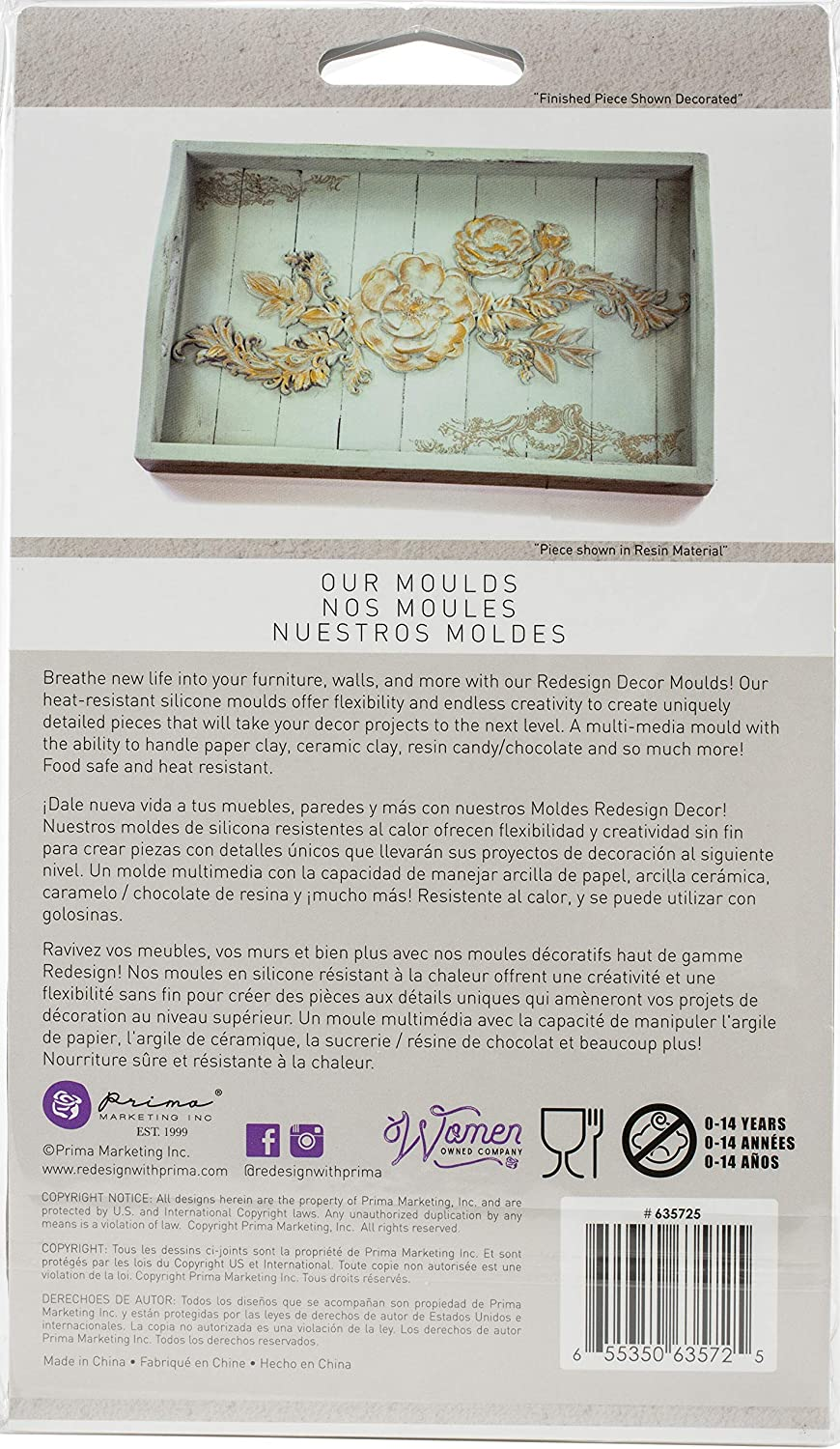 PRIMA MARKETING INC REDESIGN MOULD 5X8 BAROQ SWRL, Baroque Swirls