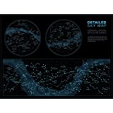 Higly Detailed Sky Map Poster - Constellations with Star Names - Wall Art Print for School Home Office Classroom Décor - 32X48 inches