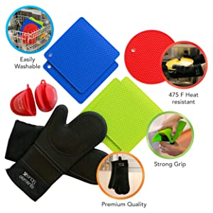 Silicone Oven Mitts and Pot Holders PREMIUM QUALITY - 9Piece -DURABLE- Heat RESISTANT/Kitchen and FOOD SAFE /STRONG Grip/ BPA FREE - Oven Mitts - Pot Holder Mats - Pinch Mitts and Round Mat