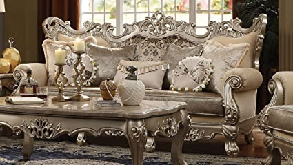 Major Q P7051040 Luxurious Traditional French Style Champagne Finish Fabric  Sofa