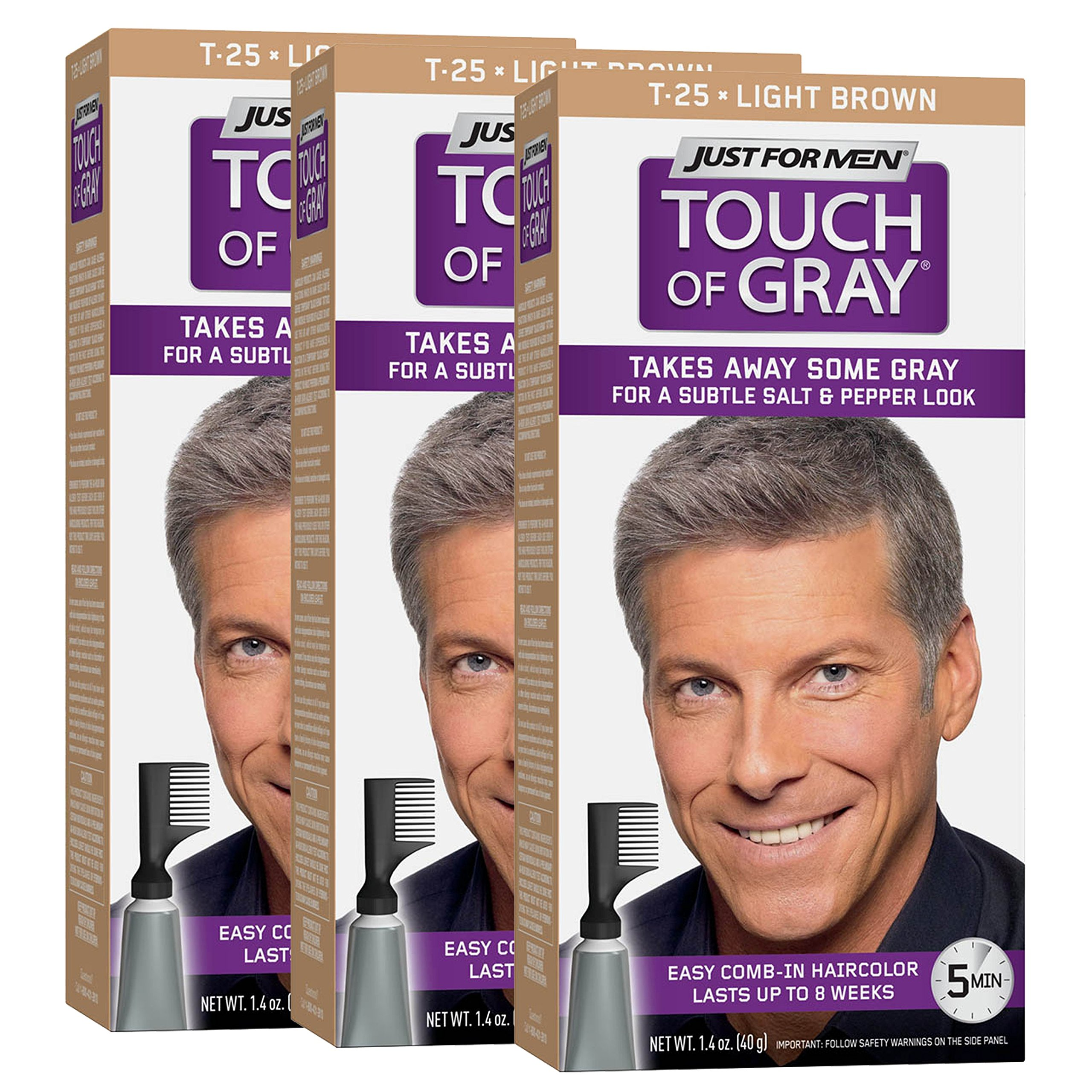 Just For Men Touch Of Gray Comb-In Men's Hair Color, Light Brown (Pack of 3) by Just for Men