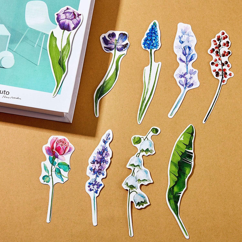 color multicolor 5,2 x 14,8 cm Marcap/áginas dise/ño de flores 12 unidades