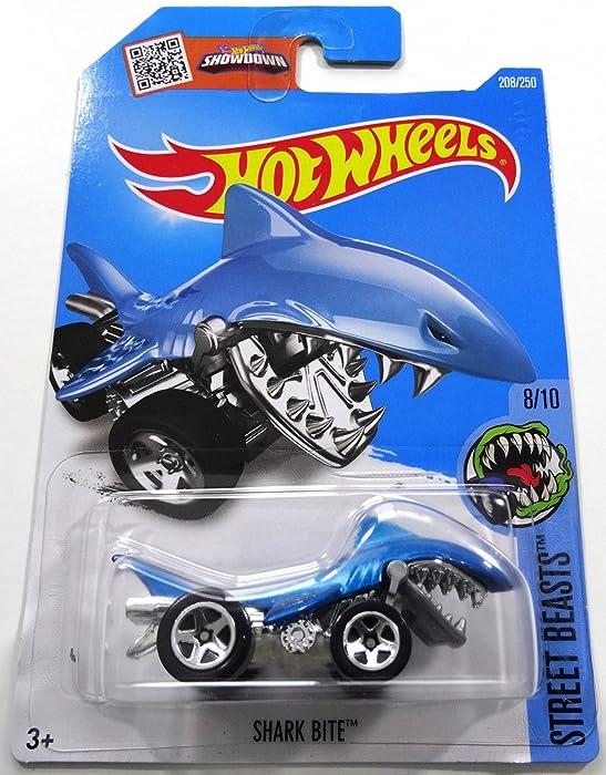 Hot Wheels 2016 Shark Bite Street Beasts Blue 208/250, Long Card by Mattel