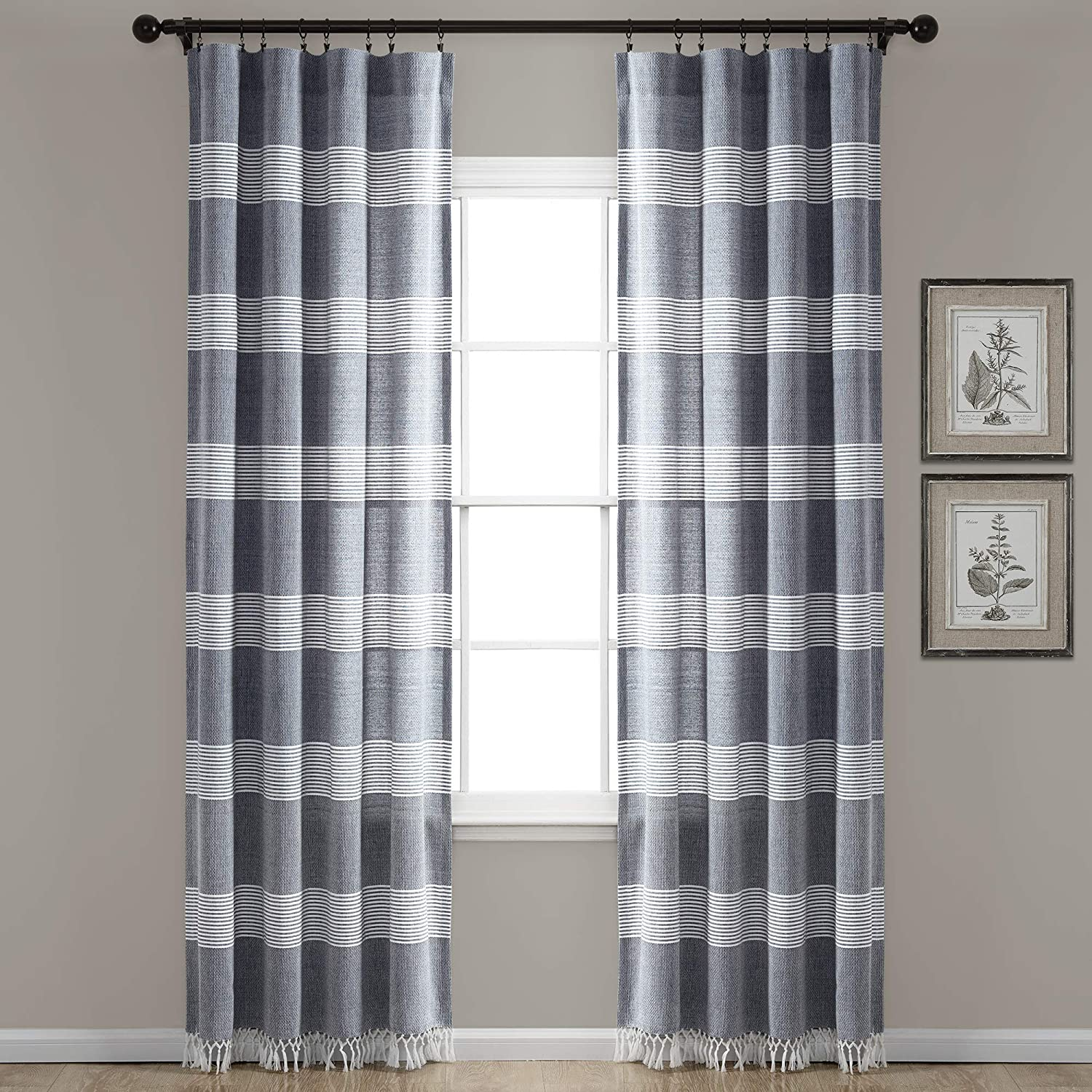 "Lush Decor, Navy Tucker Stripe Yarn Dyed Cotton Knotted Tassel Window Curtain Panel Pair, 84"" x 40"""