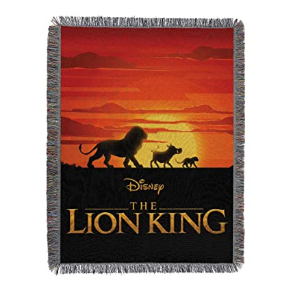 Disneys The Lion King Sunset Walk Woven Tapestry Throw Blanket 48 X 60 Multi Color