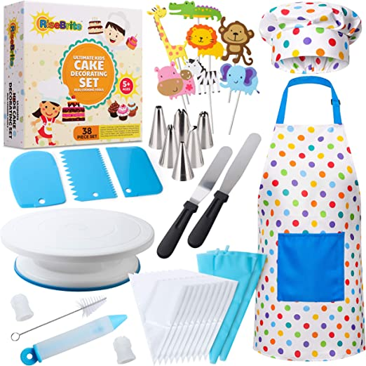 Children Kids Kitchen Toy Cake Apron Girl Cooking Kitchenware Set Baking Tools