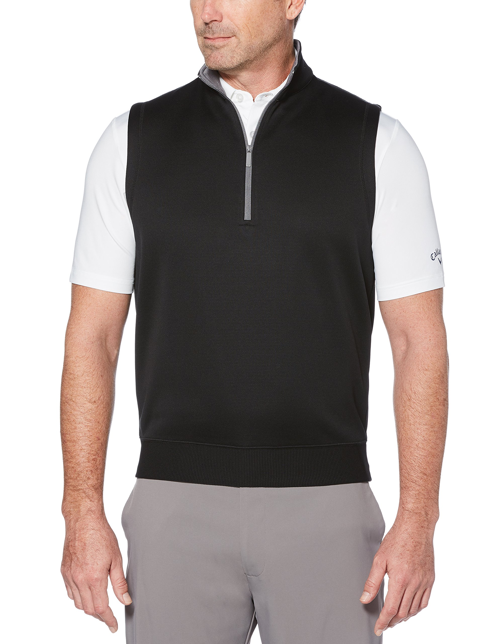 Callaway Men's Water Repellent 1/4 Zip Golf Vest, Caviar, Large by Callaway