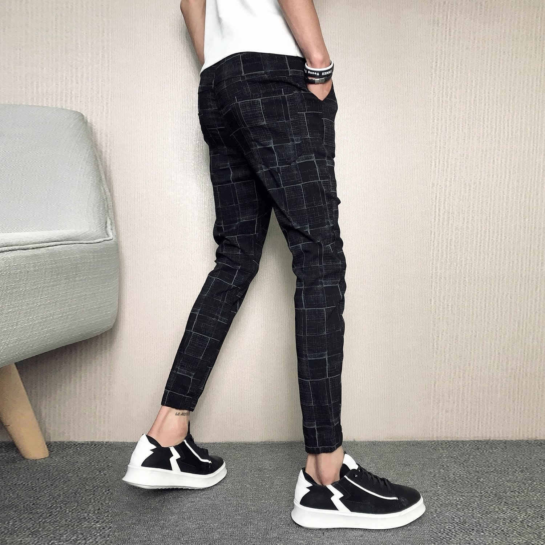 Yusky Mens Plaid Vogue Slim-Tapered Waistband Stretchy Tenths Pants