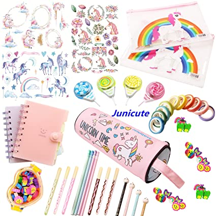 Wz Assorted Unicorn School Supplies Pen Pencil Case Eraser Note Stationery Gift Set (48 Pcs) by Wz
