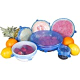 Kitchen + Home Silicone Stretch Lids - Set of 6 Silicone Food Saver Covers - BPA Free, Dishwasher, Microwave, Oven and Freezer Safe