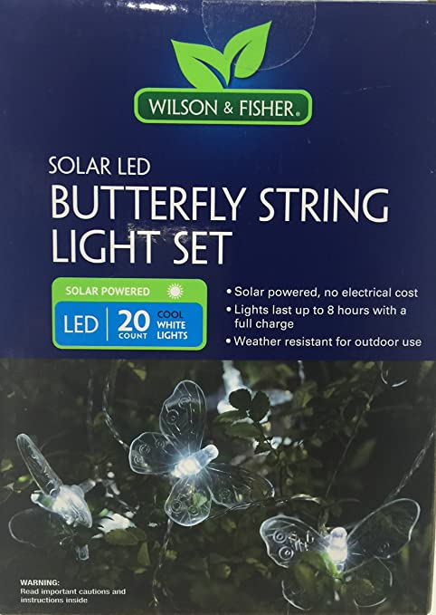 Wilson & Fisher SOLAR LED String Light Set - 20 White Lights (ButterFly)