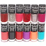 Makeup Mania Nail Polish Set Combo (Red, Orange, Pink, Glitter, Black, Purple, Pack of 12)