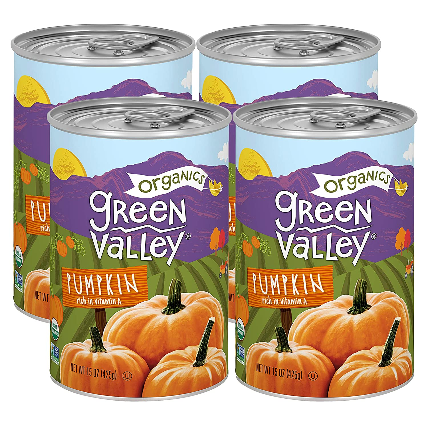 Green Valley Organics Pumpkin | Certified Organic | 100% Dickinson Variety | Sweet Earthy Delicious | Firm & Smooth | Vibrant Autumn Orange | Non-GMO | American Grown & Made | 15 oz (Pack of 4)