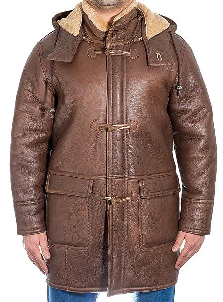 Chaqueta de piel de oveja 100% piel de oveja para hombres con capucha extra