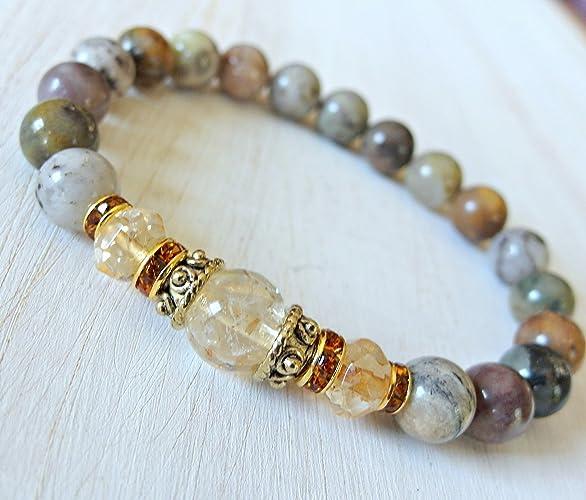 Citrine & Moss Agate bracelet, Energy Mala, Reiki Charged - Success - New  beginnings - Gemstone bracelet