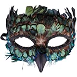 Western Fashion Peacock Feather Masquerade Mask, Green, Size One Size Fits Most