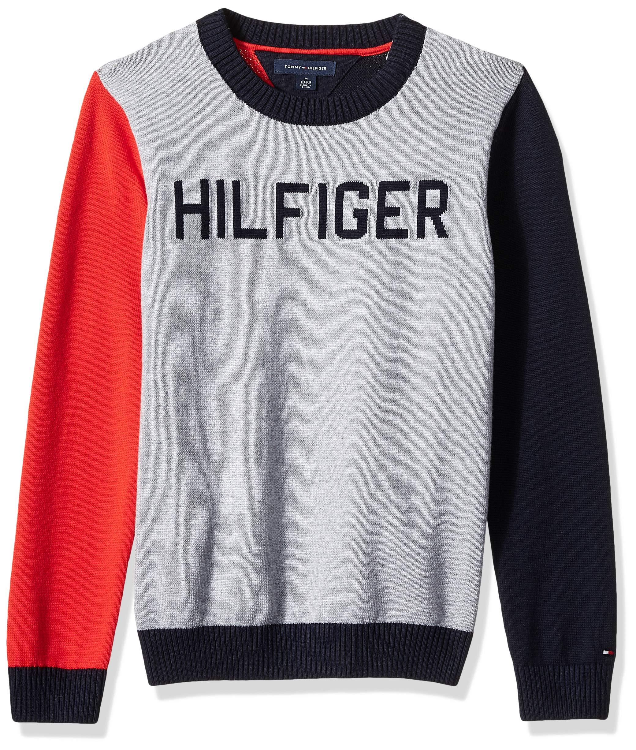 Tommy Hilfiger Boys' Adaptive Sweater with Velcro Brand Shoulder Closure, Academy Grey Heathert MD