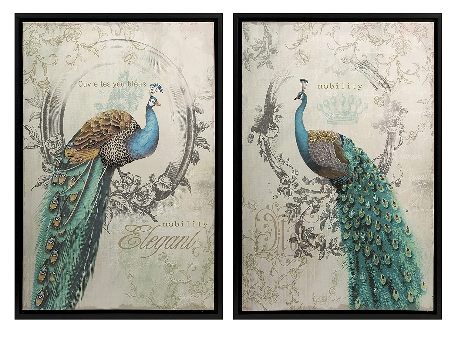 Amazon.com: Panache Peacock Art   Set Of 2: Wall Decor Stickers: Posters U0026  Prints