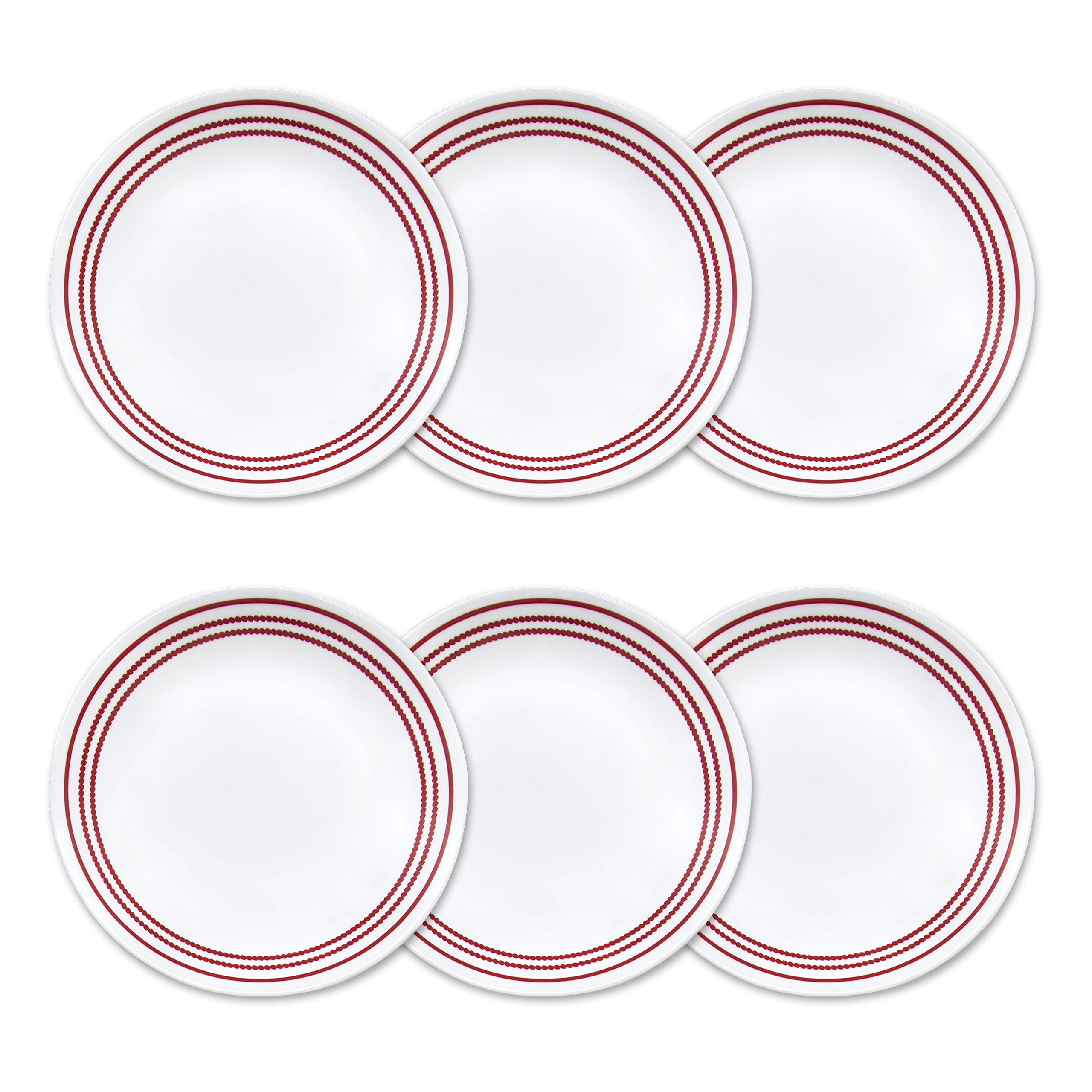 Corelle Livingware 6-Piece Ruby Red Lunch Plate Set, 8.5-Inch, White