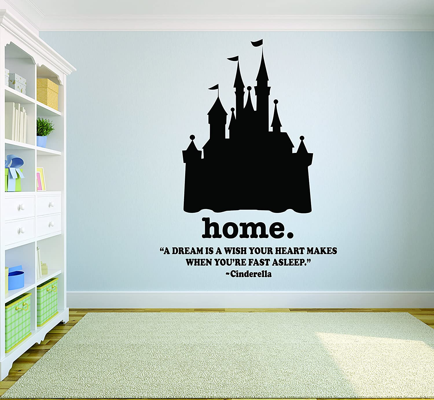 Cinderella Princess Wall Decal / Disney Wall Art Vinyl Decals Stickers for Girls Bedroom Room / Removable Designs for Girl Walls