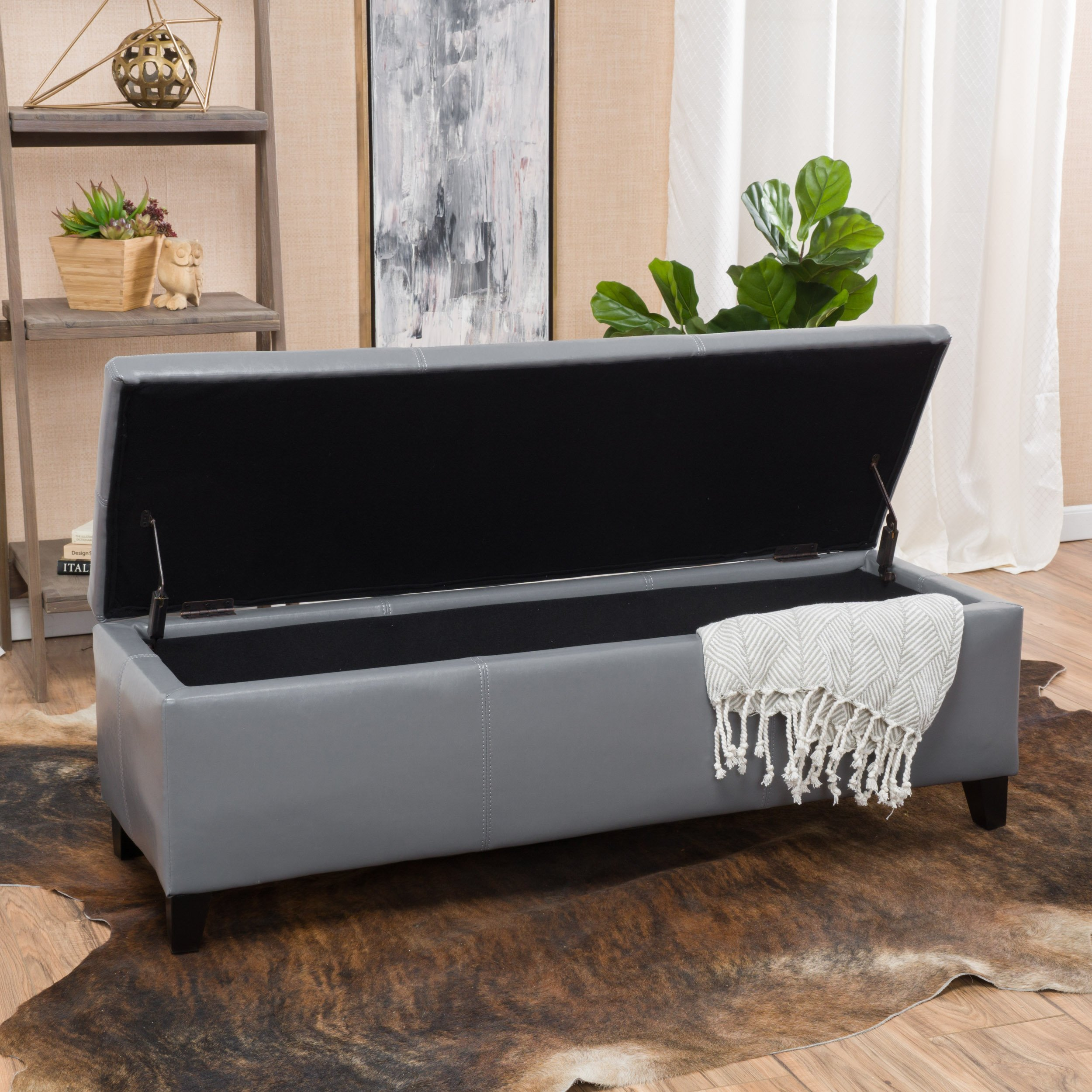 Christopher Knight Home 296845 Living Skyler Grey Leather Storage Ottoman Bench by Christopher Knight Home