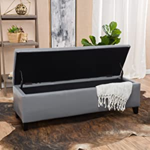 Christopher Knight Home 296845 Living Skyler Grey Leather Storage Ottoman Bench