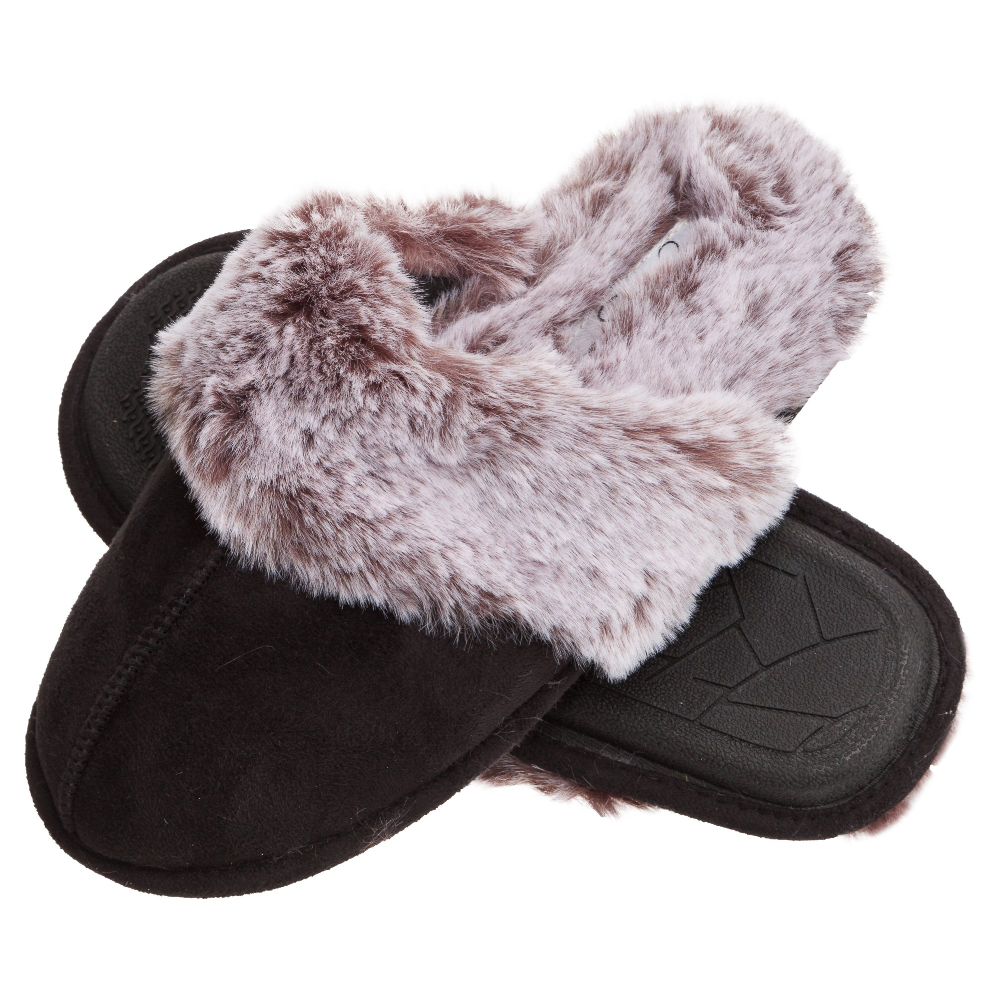 Jessica Simpson Faux Fur Slip On Womens House Slipper with Memory Foam (Size Small, Black)