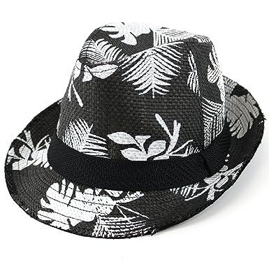 facb6ba7956 Chapeau trilby en Paille de surf Noir motifs hawaïens Motif fleurs d ...